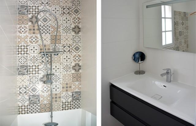 Salle de bain au RDC avec douche et lavabo
