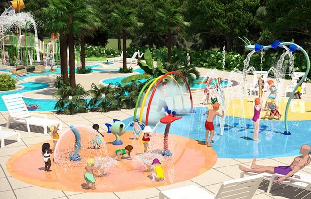 Jeux d'eau au nouveau parc aqualudique à Mané Guernehué