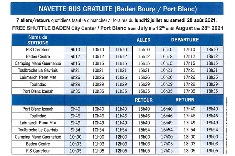 Navette gratuite Baden - Port Blanc