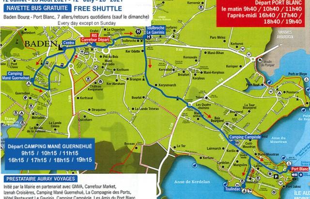 Plan de la navette vers la plage et Port Blanc